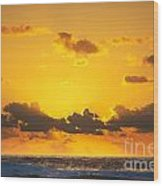 Ocean Sunrise Clouds Wood Print