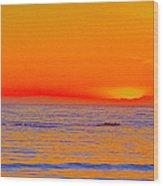 Ocean Sunset In Orange And Blue Wood Print