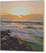 Ocean Sunset In San Diego Wood Print