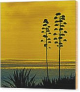 Ocean Sunset With Agave Silhouette Wood Print