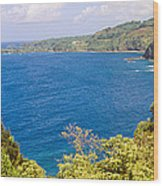 Ocean View From The Road To Hana, Maui Wood Print