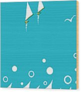 Ocean View In Gold And Turquoise Wood Print