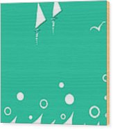 Ocean View In Shades Of Blue Green Wood Print