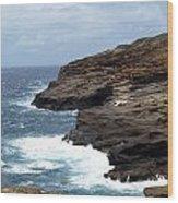 Ocean Vs. Rock Wood Print