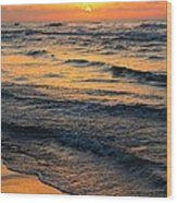 Beach Wave Sunrise Wood Print by Candice Trimble