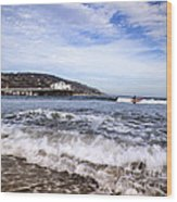 Ocean Waves Blue Sky And A Surfer At Malibu Beach Pier Wood Print