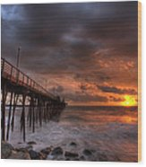 Oceanside Pier Perfect Sunset Ex-lrg Wood Print by Peter Tellone