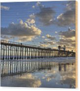 Oceanside Pier Sunset Reflection Wood Print