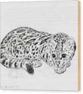 Ocelot Kitten Wood Print