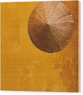 Ochre Wall Conical Hat Wood Print
