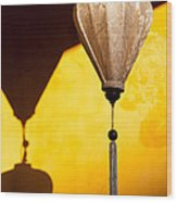 Ochre Wall Silk Lanterns  Wood Print