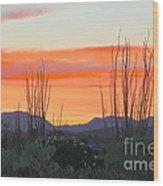 Ocotillo Sunset Wood Print