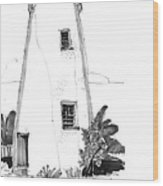 Ocracoke Light 1970s Wood Print