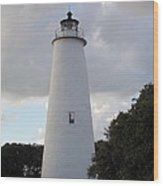 Ocracoke Lighthouse In The Clouds Wood Print by Tammy Wallace