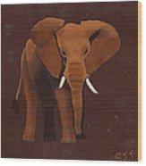 Ocre Elephant Wood Print