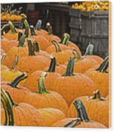October At The Farm - Pumpkins Wood Print