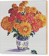 October Chrysanthemums Wood Print by Christopher Ryland