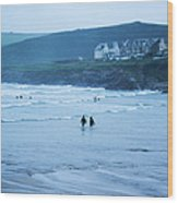 October Evening Surf Wood Print