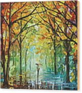 October In The Forest Wood Print by Leonid Afremov