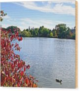 October On The Lake Wood Print