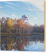 October Pond View Wood Print