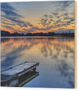 October Sunrise At Lake White Wood Print