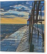 October Sunset At St. Joseph Lighthouse - Simulated Oil  Wood Print