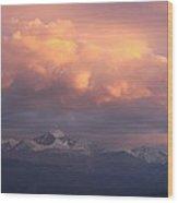October Sunset Over Longs Peak Wood Print