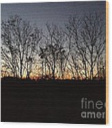 October Sunset Trees Silhouettes Wood Print