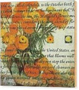 October's Child Birthday Card With Text And Marigolds Wood Print