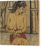 Odalisque On The Granada Gates Wood Print