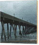 Oean Pier - Surreal Stormy Blue Pier Beach Ocean Fishing Pier With Seagull Wood Print by Kathy Fornal