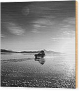 Off Road Uyuni Salt Flat Tour Black And White Wood Print