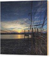 Off Season Sunset At The Lake Wood Print