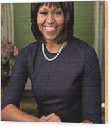Official Portrait Of First Lady Michelle Obama Wood Print