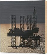 Offshore Drill Rig Platform Wood Print