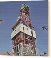 Offshore Drilling Tower Wood Print