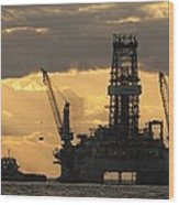 Offshore Rig At Dawn Wood Print