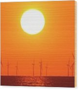 Offshore Wind Turbines At Sunset Wood Print