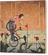 Oh A Pretty Flower - Funny Bmx Flatland Pic With Monika Hinz Wood Print