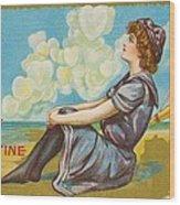 Oh Be My Valentine Postcard Wood Print