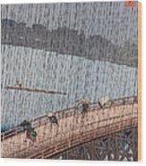 Ohashi Sudden Shower At Atake Wood Print