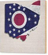 Ohio Map Art With Flag Design Wood Print