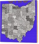 Ohio Map Blue Wood Print