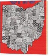 Ohio Map Red Wood Print