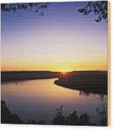 Ohio River At Sunrise Wood Print by David Davis