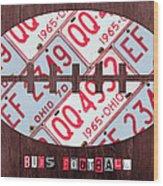 Ohio State Buckeyes Football Recycled License Plate Art Wood Print
