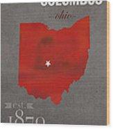 Ohio State University Buckeyes Columbus Ohio College Town State Map Poster Series No 005 Wood Print