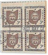 Ohio Three Cent Stamp Plate Block Wood Print