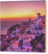 Oia Sunset Wood Print